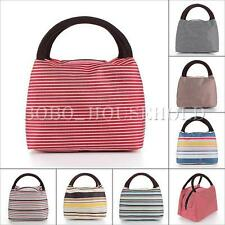 Outdoor Canvas Stripes Lunch Bag Insulated Casual Handbag Picnic Totes Storage