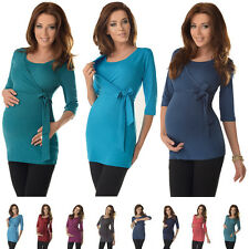 2in1 Maternity & Nursing 3/4 Sleeved Wrap Top Tunic Size 8 10 12 14 16 18 7035
