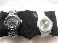 LUXURY Crystal PARIS OROLOGIO CON SWAROVSKI ELEMENTS. NERO / BIANCO.