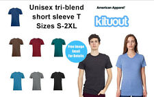 American Apparel Mens Top Unisex Tri Blend T-Shirt 7 Colours AA006 Tee S 2XL New
