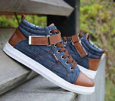 Mens Sneakers Casual velcro Canvas lace up High-Top Stone-Washed athletic Shoes