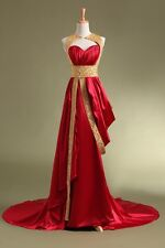 2014 Unique Gold Red Satin  Prom/Evening/Party Dress 2/4/6/8/10/12/14