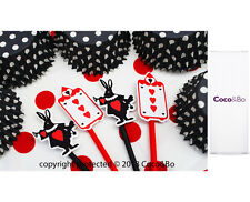 Coco&Bo Mad Hatters Cupcake Picks Alice in Wonderland Queen of Hearts Tea Party