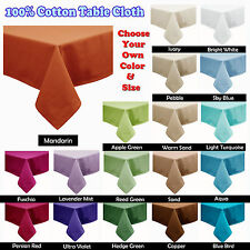 21 Color - Cotton Table Cloth - ROUND SQUARE OBLONG 6-8, 8-10, 10-12 Seaters