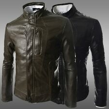 Fashion New Men's Slim Fit Designed Sexy PU Leather Luxury Short Jackets Coat