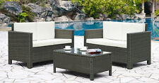 Outdoor Garden Furniture Set Corner Sofa Rattan Weave Glass Table 1 2 3 Seater