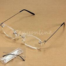 New Unisex Clear Rimless Reading Glasses Eyeware Spectacles Eyeglasses with Case