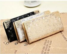 New Gold Lady Women Zip Bag PU Leather Long Purse Clutch Wallet Card Holder