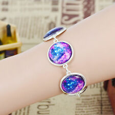 silver plated chain galaxy glass cabochon charm bracelet bangle women jewelry