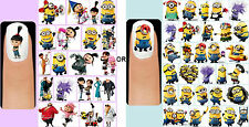 60 x Despicable Me OR Minions Nail Art Decals + Free Gems Disney Unicorn Purple