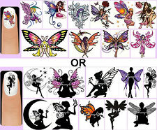 60x Fairies OR Fairy Silhouettes Nail Art Decals + Free Gift Butterfly Wings