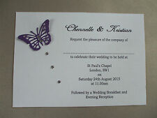 25 x PERSONALISED DIAMANTE TRAIL BUTTERFLY WEDDING INVITATIONS DAY/EVENING