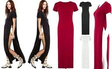 Women Side Slit Top Dress Ladies Casual Sexy Stylish Maxi Long Split T-shirt Tee