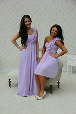LILAC 1 SHOULDER CHIFFON BRIDESMAID DRESS EVENING PROM LONG & SHORT 8-20 PASTEL