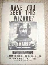 Harry Potter Hogwarts Films Sirius Black Wanted Poster Prop & FREE train ticket