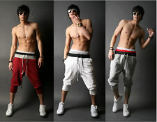 Hot Mens 3/4 Knee Casual Jogger Sport Shorts Baggy Gym Harem Pants Rope Trousers