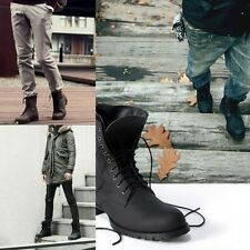 Fashion Mens Punk Riding Casual Boots Lace up Mid calf Shoes High Top Hiking HOT