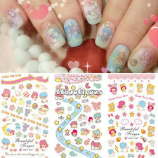 3 IN 1 Water Transfer Decal Stickers Nail Art Manicure Tips Twin Stars Kitty Cat