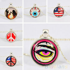 Hot Sale Women Silver Plated Eyes US Flag Glass Dome Cabochon Chain Necklace New