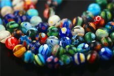 Lots 6 8 10mm Round Colorful Flower Millefiori Glass Beads Craft Jewelry Finding