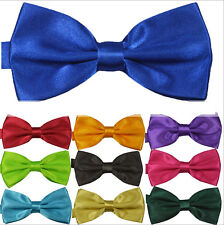 Dazzling Pure Color Mens Butterfly Knot Polyester Silk Party Wedding Tie Necktie