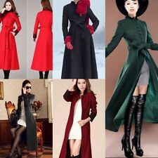Elegant Womens Slim Fit Long Bleted Trench Coat Full Length Wool Blend Jacket