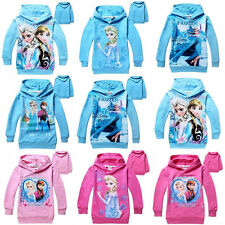 Cute Lovely Girl Kids Frozen Queen Elsa Anna Hooded Long Sleeve Top T-shirt 2-7Y
