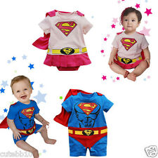 Baby Boy Girl Superman Supergirl Fancy Costume Babygrow Outfit Birthday Party