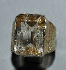 Faceted Rutilated Quartz 10.68ct Handcrafted Sterling Silver with 14k Gold Textu