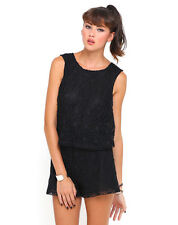 Motel Mary Daisy Open Back Floral Lace Playsuit in Black 9052