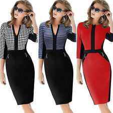 Women Colorblock Cotton Stretch Tunic Wear To Work Party Pencil Sheath Dress 797