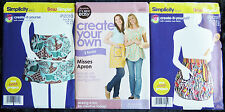 Simplicity It's Sew Easy Sewing Patterns Modern Kitchen Apron Various Styles New