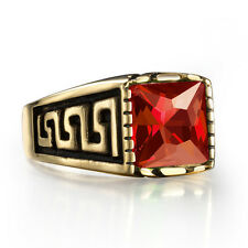 Gold Stainless Steel Men's Guy's Square Red Ruby Class Ring Size 8-12 US