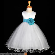 WHITE PAGEANT FLOWER GIRL DRESS WEDDING 12-18m 2 4/5T 6 6X 7 8 9 10 11 12 829cn
