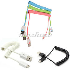 Spiral Coiled USB Type A To B Micro Sync Data Adapter Cable For Mobile Phones