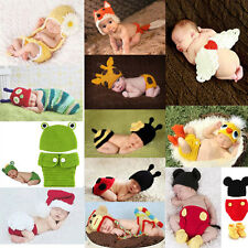 Cute Baby Newborn Costume Outfit Photography Prop Animals Crochet Beanie Hat Set