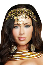 Brand New Egyptian Queen Goddess Shimmering Gold Coin Crown Costume Accessory