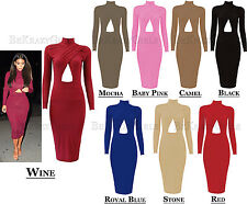 New Womens Ladies Celebrity Style Long Sleeve Cross Over Bodycon Midi Dress Size
