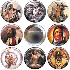 Native American Indian Set of 8 Buttons, Magnets or FlatBacks - Pins Badges
