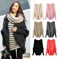 Women's Batwing Sleeve Knitted Cardigan Asymetry Hem Loose Casual Sweater Coat