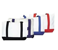 "DALIX 19"" Shopping Tote Bag Heavy Duty Cotton Canvas Grocery Bag 12-PACK"