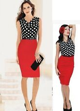 Sexy Summer Dresses Draped Neck Polka Dot Color Block Wear Work Party Dress