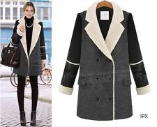 Wide Lapel Womens Double-breasted Long Sleeve Long Woolen Big Collar Coat Jacket