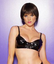 Black Vinyl Lace Up Underwire Bra Adjustable Straps 1-1057