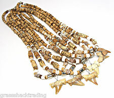 Wholesale 6 Pc Lot Fossil Shark Tooth Necklaces Sharks Teeth 18 inch #7244