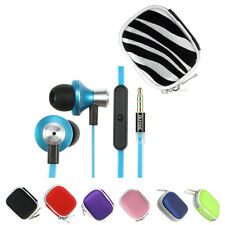 3.5mm Earbud Stereo Headset w/ Mic+Bluetooth Case For Cellphone iPhone i Pad PC