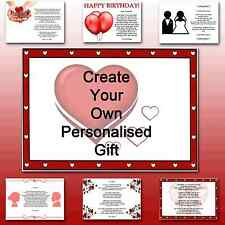 ♥ Personalised Poem ♥ I love you gift for her or him - Designed by you
