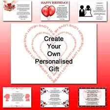 ♥ Personalised Poem ♥ To my Wife on birthday romantic unqiue gift for her