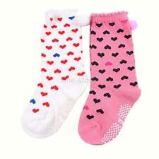 Toddler Baby Girls Warm Ankle High Socks Non-slip Heart Pattern In Tube Socks