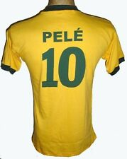 NEW VINTAGE WORLD CUP 1970 BRAZIL PELE #10 RETRO BRASIL HOME SOCCER JERSEY SHIRT